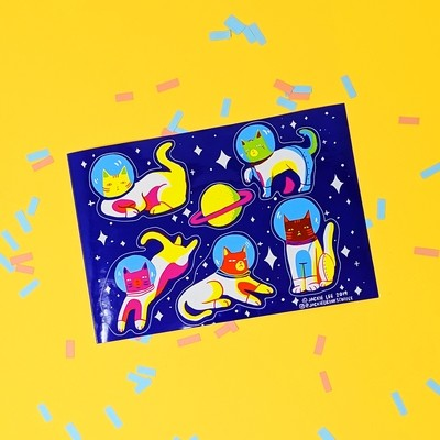 ASTRONAUT CAT STICKER SHEET
