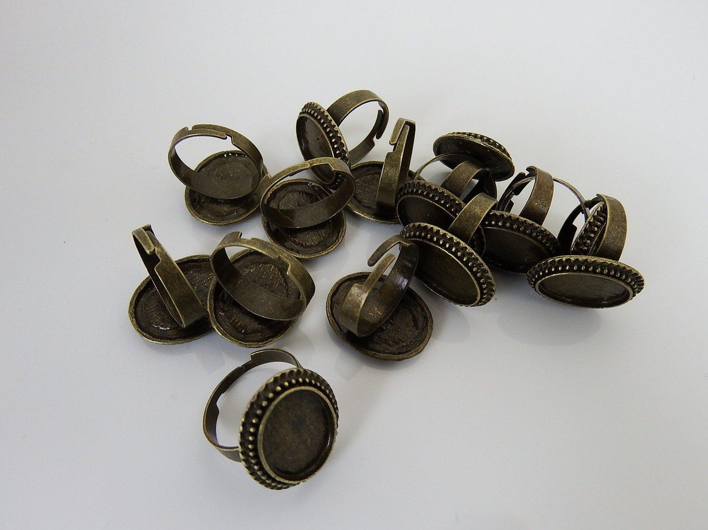 0099 - Apprêts - Bague réglable - Bronze- Plateau ovale