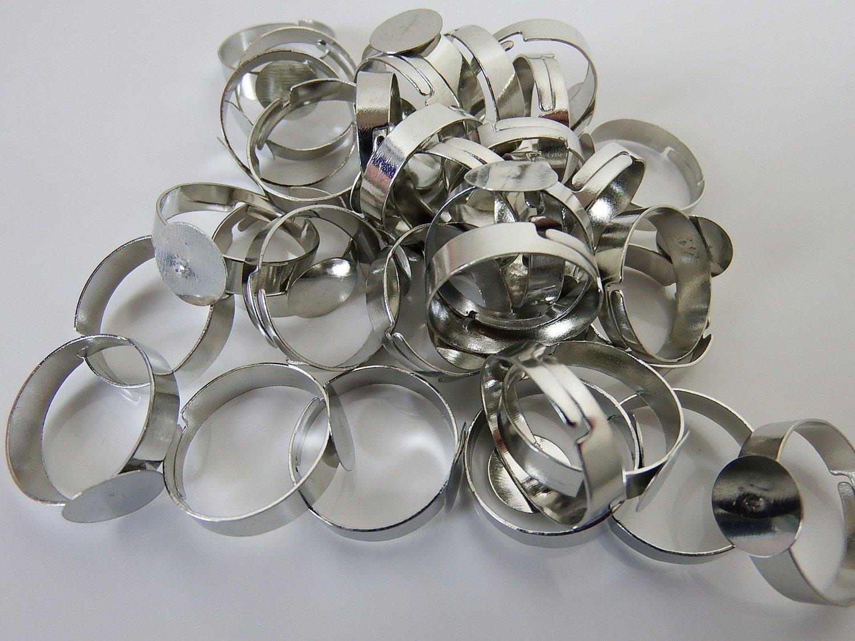 0097 - Apprêts - Bague réglable métallisée - plateau Tamis - 12mm