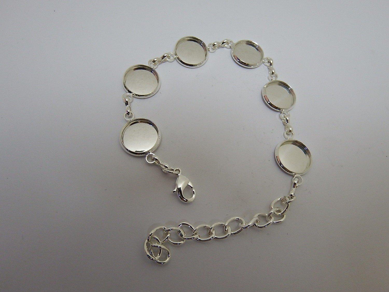0101 - Apprêts - Bracelet argenté réglable - 6 cabochons - 12mm