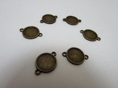 0104 - Apprêts - 6 Connecteurs Support Cabochon Bronze