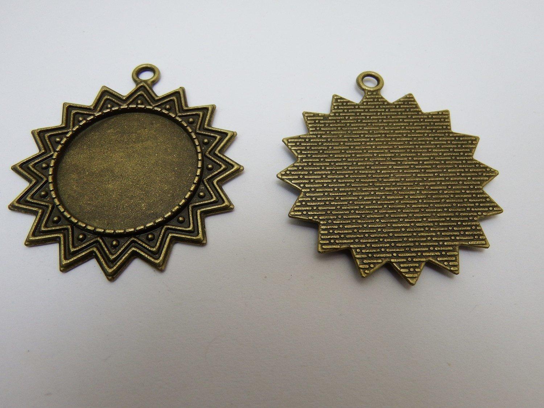 0129 - Apprêts - Support Soleil pour cabochon 25mm - Bronze