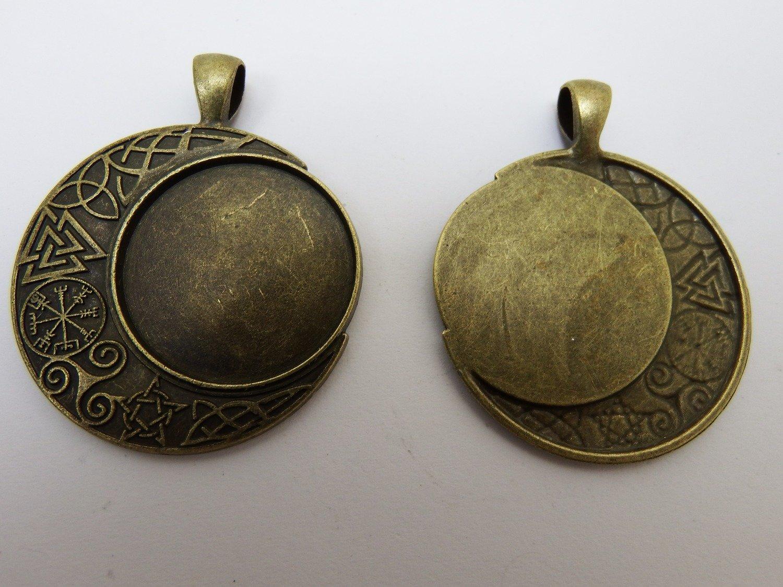 0130 - Apprêts - Support Lune celtique pour cabochon 25mm - Bronze