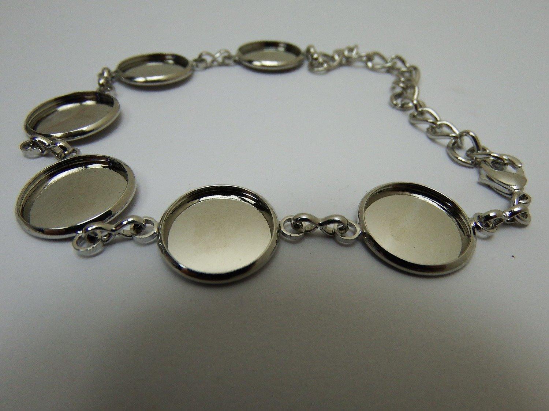 0141 - Apprêts - Bracelet argenté réglable - 6 cabochons - 14mm