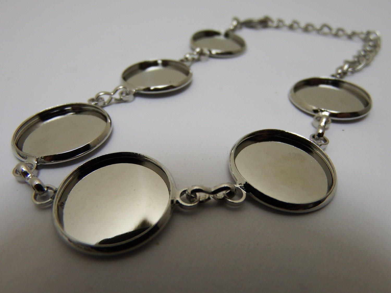 0142 - Apprêts - Bracelet argenté réglable - 6 cabochons - 16mm