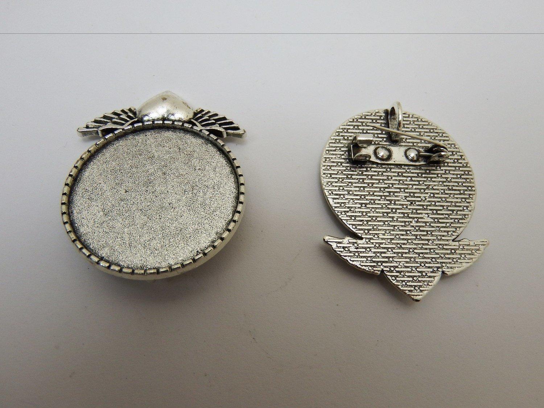 0150 -Apprêts - Support Broche et/ou pendentif romantique - 30x30mm - Argenté