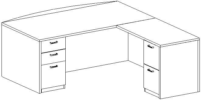 L-Desk 42x72, Bow Front, Right Return 24x42