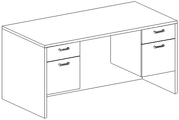 Rectangular Desk 30x60, Double Suspended Ped