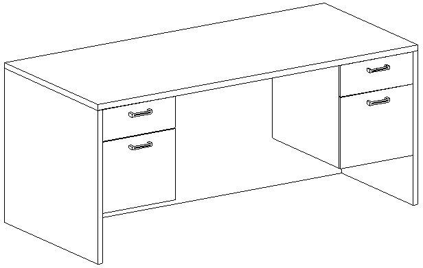 Rectangular Desk 30x66, Suspended Peds