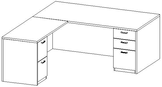 L-Desk 36x72, Rectangular, Left Return 24x48 (Min. Office Size 10x10)