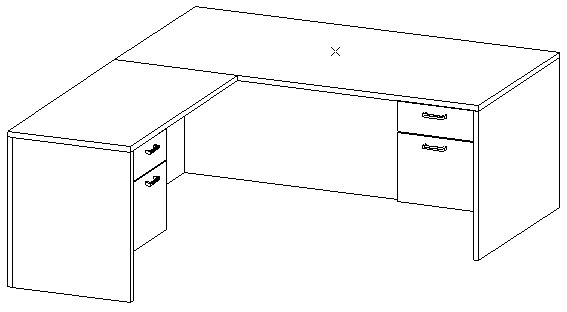L-Desk 36x72, Rectangular, Left Return 24x48, Suspended Ped
