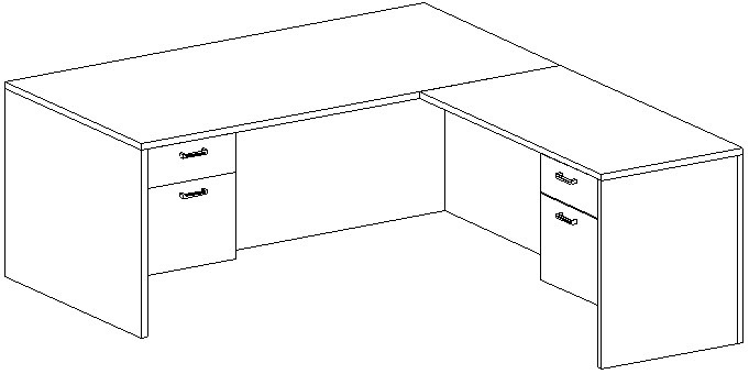 L-Desk 36x72, Rectangular, Right Return 24x48, Suspended Ped