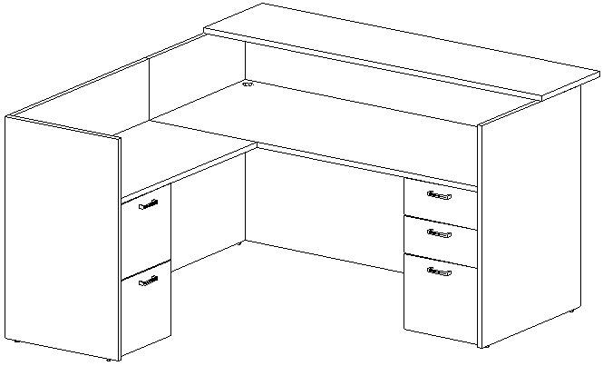 Reception L-Desk 36x72 w/Wood Transaction Top, Left Return 24x42, Double Ped