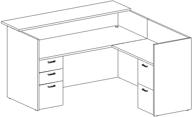 Reception L-Desk 36x72 w/Wood Transaction Top, Right Return 24x42, Double Ped