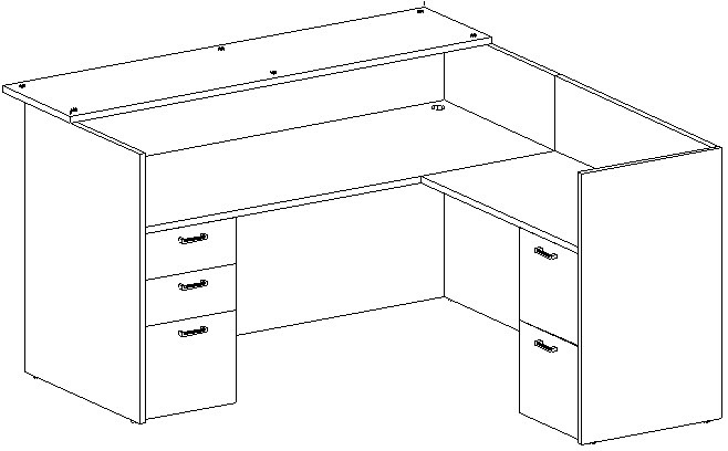 Reception L-Desk 36x72 w/Glass Transaction Top, Right Return 24x42, Double Ped
