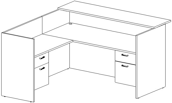 Reception L-Desk 36x72 w/Wood Transaction Top, Left Return 24x42, Suspended Ped