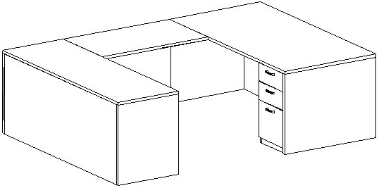 U-Desk, Rectangular, Left Bridge 24x42, Double Ped (Min. Office Size 10x12)