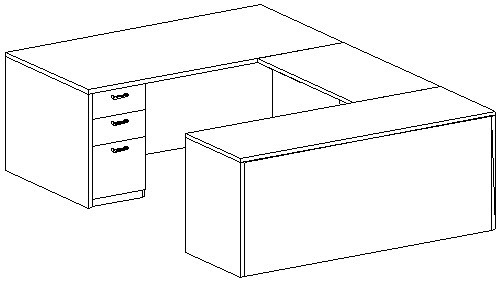 U-Desk, Rectangular, Right Bridge 24x42, Double Ped (Min. Office Size 10x12)