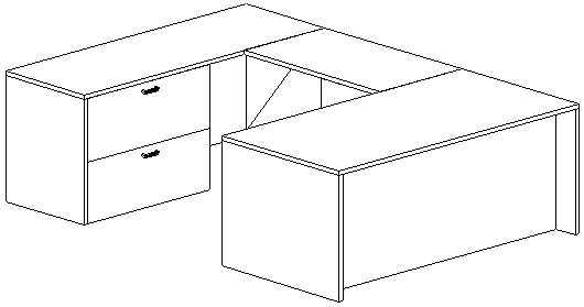 U-Desk, Rectangular, Left Bridge 24x42, Lateral File