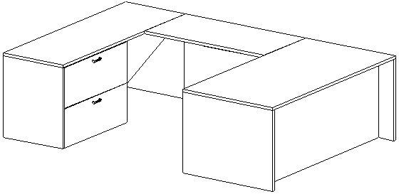 U-Desk, Rectangular, Left Bridge 24x48, Lateral File