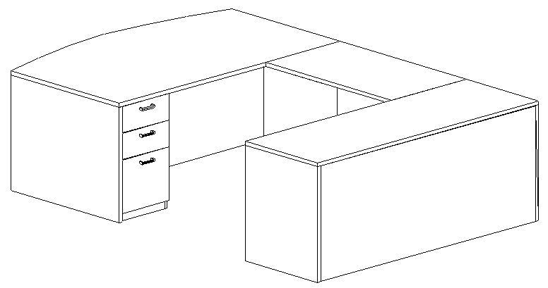U-Desk, Bowfront, Right Bridge 24x42, Double Ped