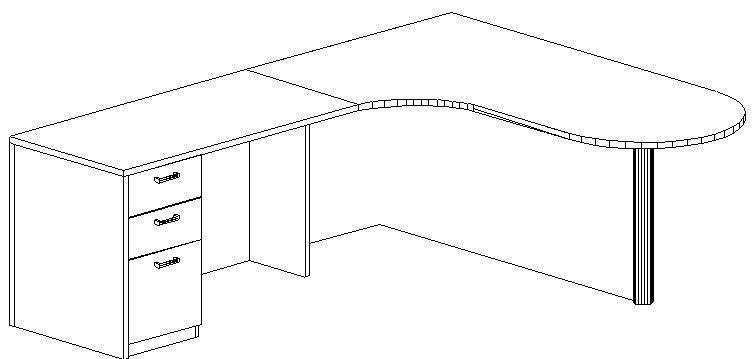 L-Desk 30/42x72, Bullet Shape CC, Left Return 24x48, Full Ped