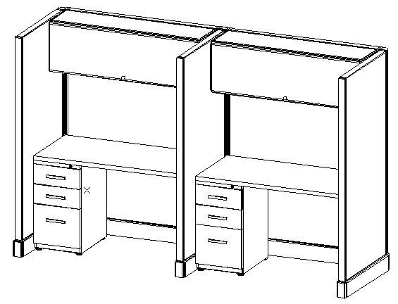 "67"" Tall,  2-Pod Workstation, (2.5ft x 4ft)"