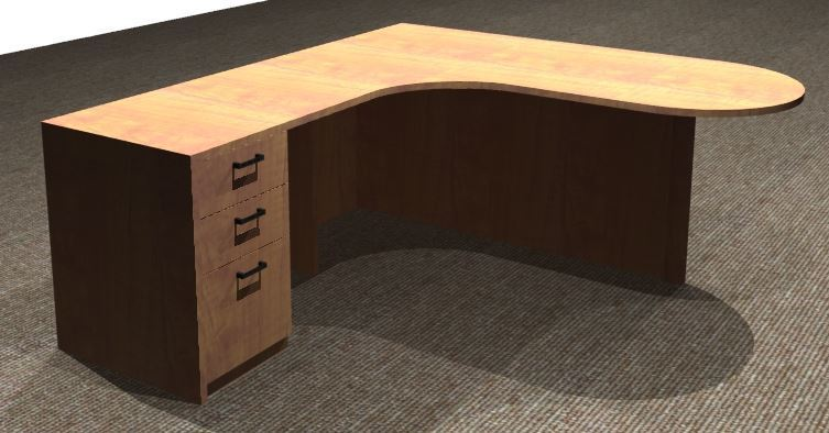 L-Desk 30/42x72, Bullet Shape CC, Left Return 24x36, Full Ped