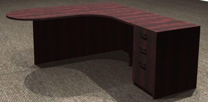 L-Desk 30/42x72, Bullet Shape CC, Right Return 24x36, Full Ped