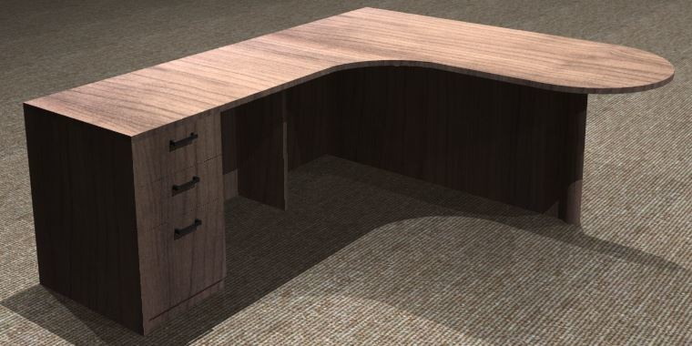 L-Desk 30/42x72, Bullet Shape CC, Left Return 24x42, Full Ped
