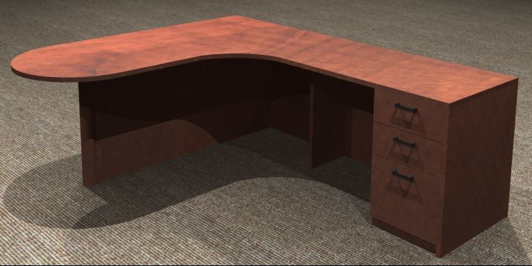 L-Desk 30/42x72, Bullet Shape CC, Right Return 24x42, Full Ped