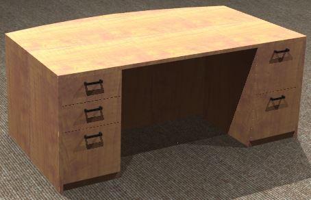 Exec. Desk 42x72, Bow Front, Double Pedestal