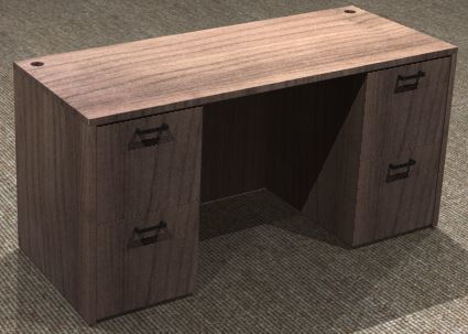 Kneespace Credenza 24x60, Double Ped