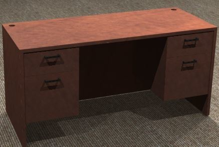 Kneespace Credenza 24x60, Double Suspended Ped