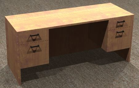 Kneespace Credenza 24x66, Double Suspended Ped