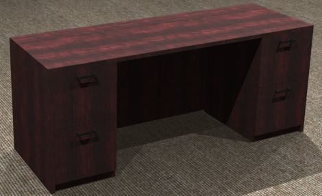 Kneespace Credenza 24x72, Double Ped