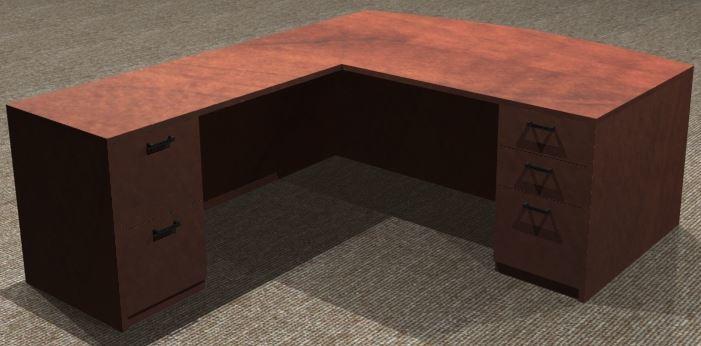 L-Desk 36x72, Bowfront, Left Return 24x48, Double Ped
