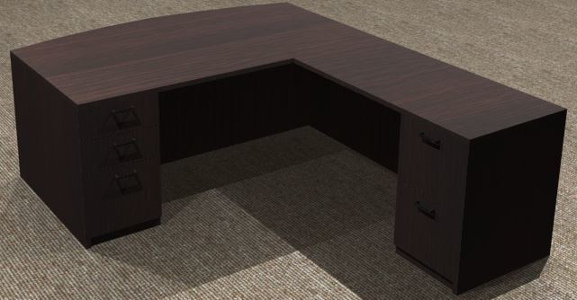L-Desk 36x72, Bowfront. Right Return 24x48, Double Ped