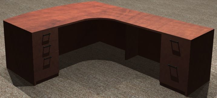 L-Desk 30x72, Bowfront CC, Right Return 24x48, Double Ped