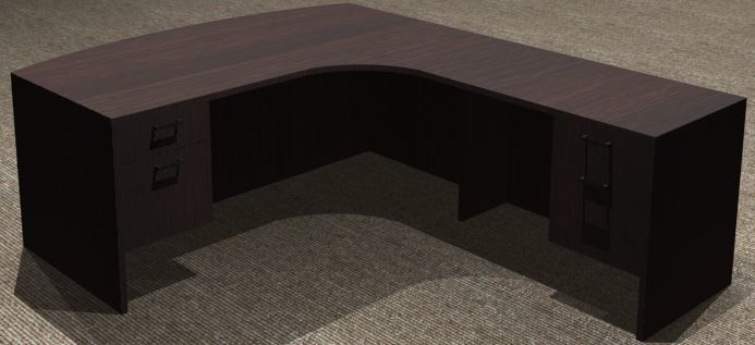 L-Desk 30x72, Bowfront CC, Right Return 24x42, Suspended Ped
