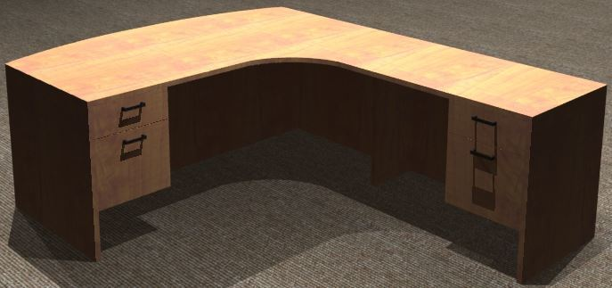 L-Desk 30x72, Bowfront CC, Right Return 24x42, Double Ped