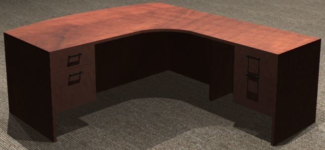 L-Desk 30x72, Bowfront CC, Right Return 24x36, Suspended Ped