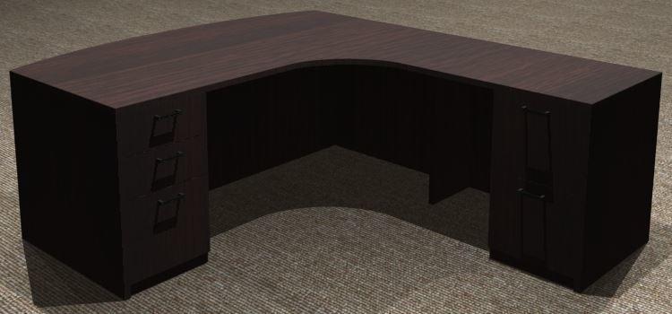 L-Desk 30x72, Bowfront CC, Right Return 24x36, Double Ped