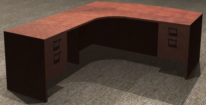 L-Desk 30x72, Bowfront CC, Left Return 24x42, Suspended Ped