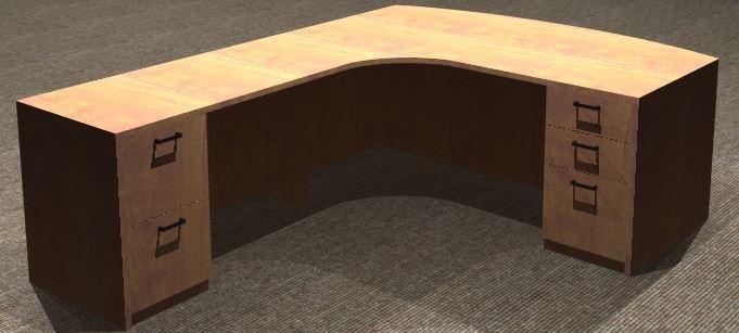 L-Desk 30x72, Bowfront CC, Left Return 24x48, Double Ped
