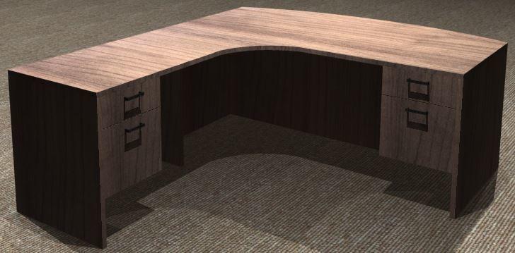 L-Desk 30x72, Bowfront CC, Left Return 24x36, Suspended Ped