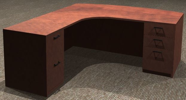 L-Desk 30x72, Bowfront CC, Left Return 24x36, Double Ped