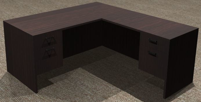 L-Desk 30x66, Rectangular, Right Return 24x42, Suspended Ped