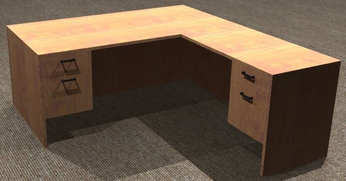 L-Desk 36x72, Rectangular, Right Return 24x42, Suspended Ped