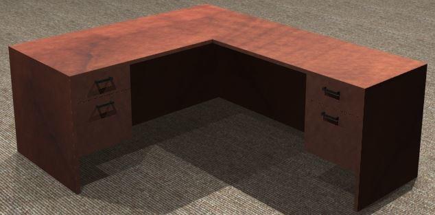 L-Desk 30x66, Rectangular, Right Return 24x48, Suspended Ped